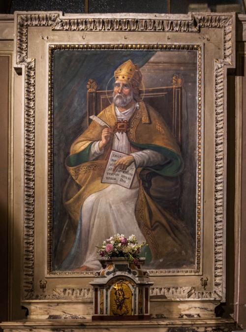 Sant'Agnese fuori le mura, fresk z XIX w. ukazujący św. Augustyna