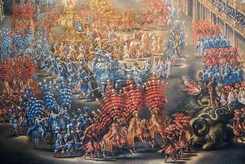 Parada przy Palazzo Barberini z okazji przybycia królowej Szwecji Krystyny do Rzymu, fragment, F. Gagliari, F. Lauri, 1659, Museo di Roma, Palazzo Braschi