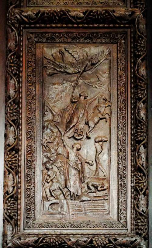 Santa Sabina, drzwi cyprysowe, jedna z kwater - Wniebowstąpienie proroka Eliasza
