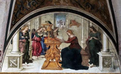 Pinturicchio,  luneta z przedstawieniem Zwiastowania, Cappella Basso della Rovere, kościół Santa Maria del Popolo