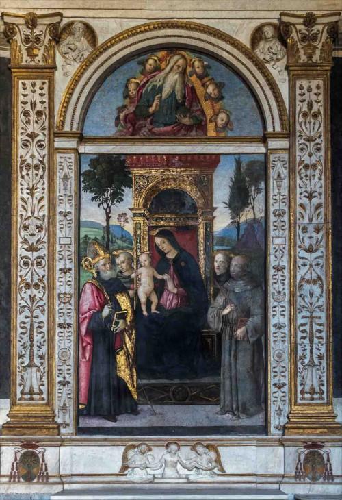 Pinturicchio, Madonna z Dzieciątkiem w otoczeniu świętych, Cappella Basso della Rovere, kościół Santa Maria del Popolo