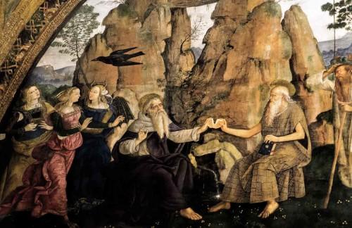 Pinturicchio, Święci pustelnicy - Antoni i Paweł z Teb, apartamenty papieża Aleksandra VI (Sala dei Santi), pałac Apostolski