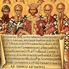Ikona ukazująca Konstantyna Wielkiego i biskupów na soborze w Nicei, zdj. Wikipedia