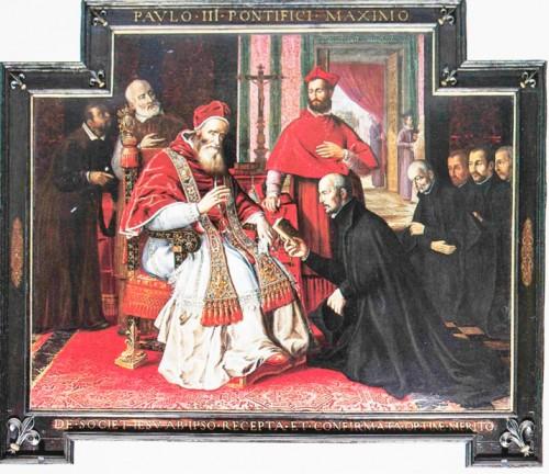 Papież Paweł III z Ignacym Loyolą i jezuitami, w tyle kardynał nepot Alessandro Farnese (wnuk papieża), kościół Il Gesù