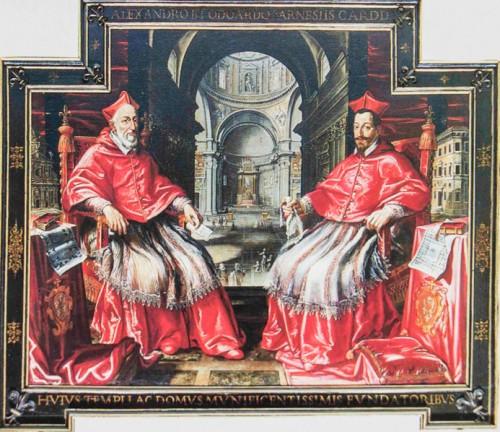 Portret dwóch papieskich nepotów - potomków papieża Pawła III, Alessandro i Odoardo Farnese, Stara zakrystia kościół Il Gesù