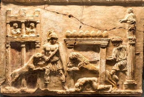 Walka ze zwierzętami Circus Maximus, relief z I w.n.e., Museo Nazionale Romano, Palazzo Massimo