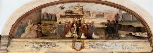 Cud procesji maryjnej, w tle zamek św.  Anioła, Pomarancio (Niccolo Circignani), ok.1585 r., kościół San Gregorio Magno