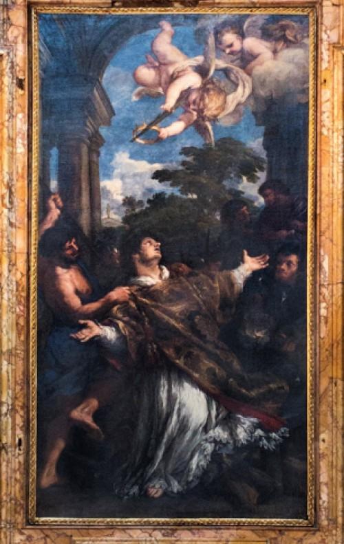 Męczeństwo i dostąpienie świętości przez Wawrzyńca, Pietro da Cortona, ołtarz główny, kościół San Lorenzo in Miranda