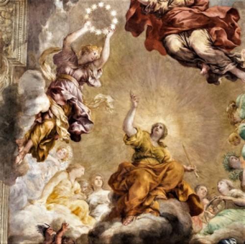 Triumf Opatrzności Bożej, alegoria Boskiej Opatrzności z niosącą koronę Glorią nieśmiertelności, Pietro da Cortona, Palazzo Barberini