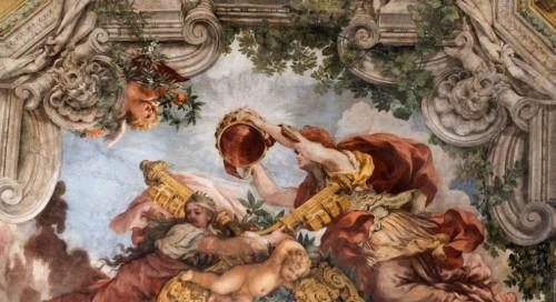 Triumf Opatrzności Bożej, alegoria Rzymu nakłada papieską tiarę, Religia podtrzymuje klucze Piotrowe, Pietro da Cortona, Palazzo Barberini