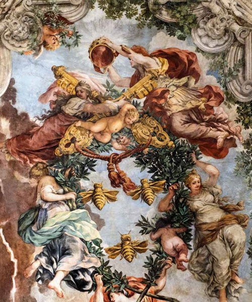 Triumf Opatrzności Bożej, Cnoty teologiczne oraz alegorie - Religia i Roma wynoszą Maffeo Barberiniego na papieża, Pietro da Cortona, Palazzo Barberini