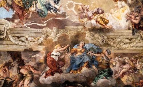 Triumf Opatrzności Bożej, Godność w towarzystwie Mądrości (po lewej) i  Przemocy (po prawej), Pietro da Cortona, Palazzo Barberini