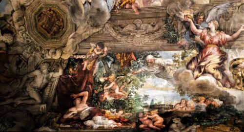 Triumf Opatrzności Bożej, leżąca Wenus i nadlatująca alegoria Czystości, Pietro da Cortona, Palazzo Barberini