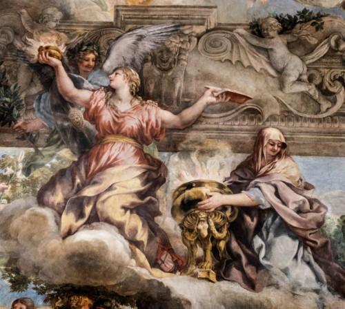 Triumf Opatrzności Bożej, w środku alegoria Mądrości, z boku alegoria Pobożności, Pietro da Cortona, Palazzo Barberini