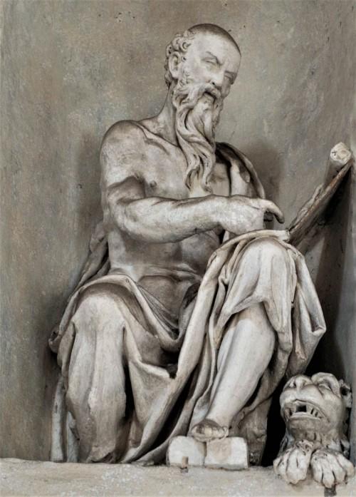 Kaplica Męczeństwa św. Piotra (Tempietto), wnętrze kaplicy z posągiem św. Marka Ewangelisty, Giovanni Francesco Rossi