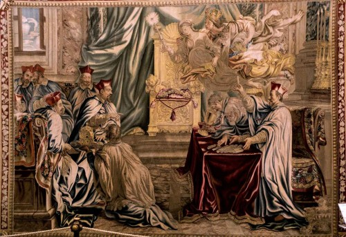 Counting votes at the conclave – Maffeo Barberini is elected as Pope Urban VIII, Barberini Manufacture, Musei Vaticani