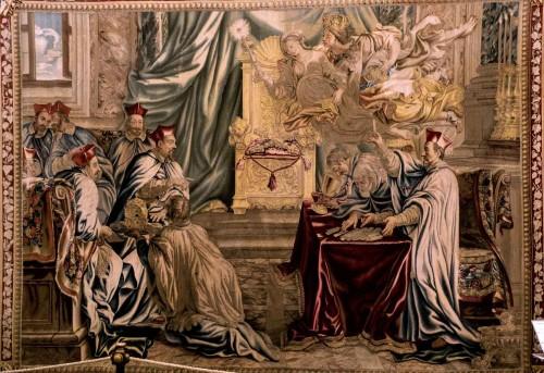 Liczenie głosów na konklawe - Maffeo Barberini zostaje wybrany na papieża Urbana VIII, tkalnia Barberinich, Musei Vaticani