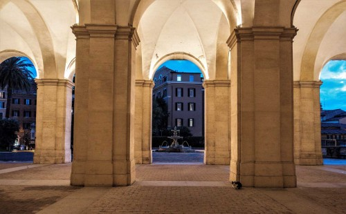 Palazzo Barberini, monumental driveway to Palazzo Barberini, view of the fountain located directly opposite the  Palace façade