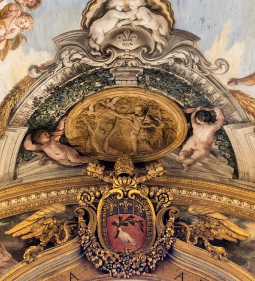 Historia Eneasza, Eneasz poszukuje złotej gałęzi, poniżej herb papieża Innocentego X, Pietro da Cortona, Palazzo Pamphilj