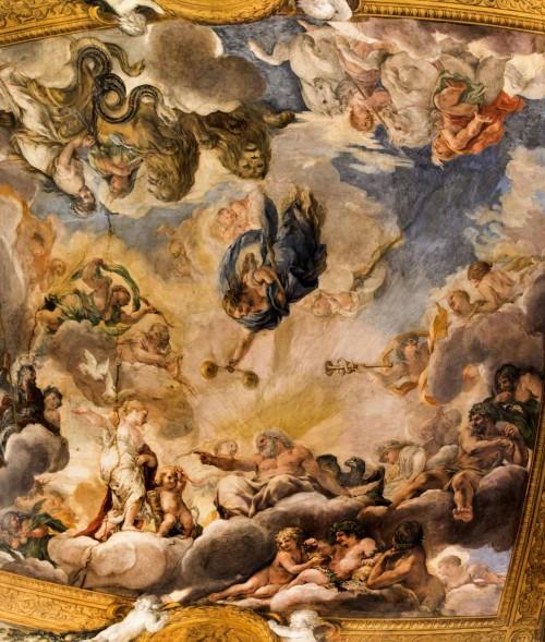 Historia Eneasza, Jowisz wydaje wyrok na korzyść Eneasza, Wenus  z kupidynem i dwoma gołębiami po lewej, Pietro da Cortona, Palazzo Pamphilj