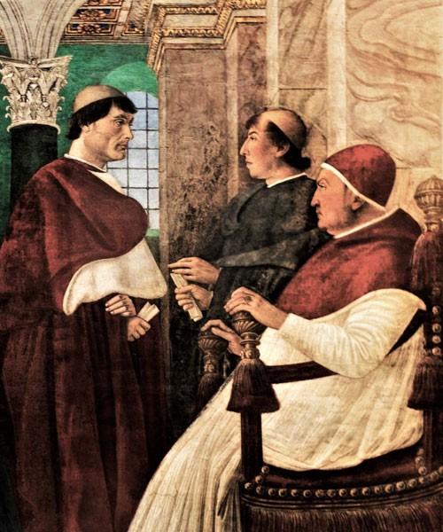 Kardynał Giuliano della Rovere (po lewej), fragment fresku, Melozzo da Forlì,  Pinacoteca Vaticana