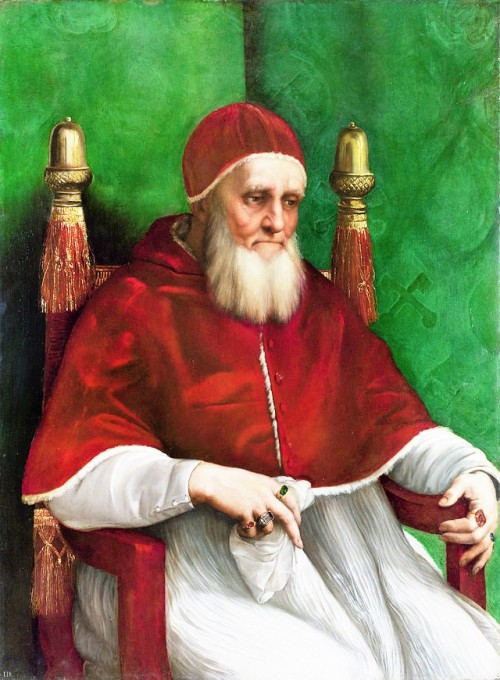 Portret  papieża Juliusza II, Rafael (Raffaello Sanzio), Londyn, National Gallery, zdj. Wikipedia