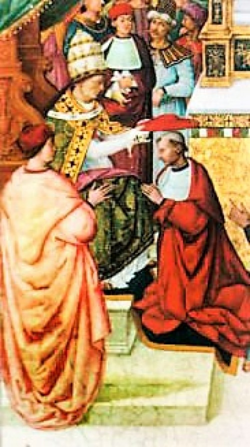Pope Callixtus III appointing Enea Piccolomini – the later Pope Pius II – as cardinal, fresco, cathedral in Siena, pic. Wikipedia