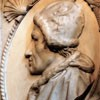 Portrait of Pope Callixtus III, tombstone of the pope in the Church of Santa Maria in Monserrato, fragment