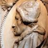 Portret papieża Kaliksta III, nagrobek papieża w kościele Santa Maria in Monserrato, fragment