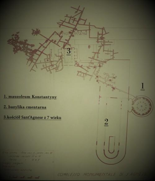 Szkic katakumb w tzw. Caementerium Agnesis przy via Nomentana