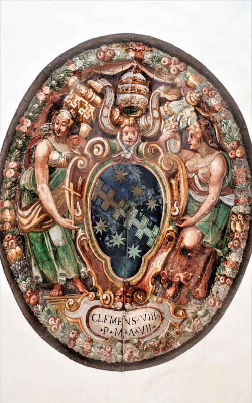 Plafon z herbem papieża Klemensa VIII Aldobrandini w sali Klemensa VIII, zamek Sant'Angelo