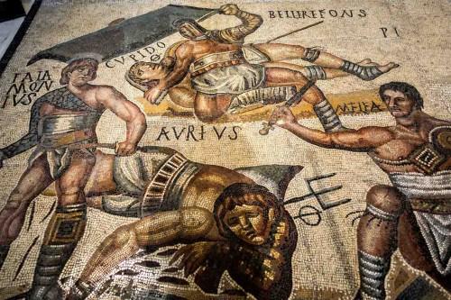 Gladiatorzy, mozaika antyczna, Galleria Borghese
