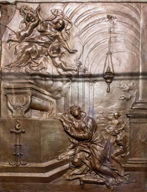Św. Agnieszka objawiająca się św. Konstancji, Alessandro Algardi, 1653 r., gips, Museo Nazionale Romano - Palazzo Venezia