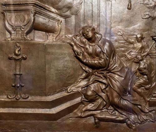 Św. Agnieszka objawiająca się św. Konstancji, fragment, Alessandro Algardi, gips, Museo Nazionale Romano - Palazzo Venezia