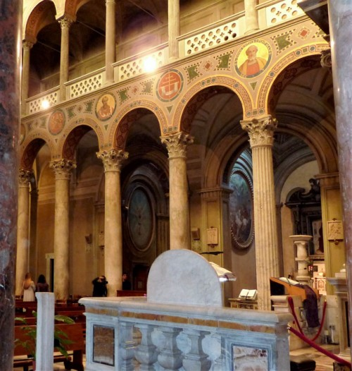 Basilica of Sant'Agnese fuori le mura, interior, view of the matroneum of the left nave