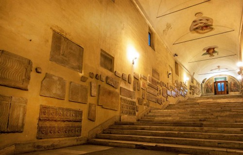 Basilica of Sant'Agnese fuori le mura, ancient and early-Christian relics, stairs to the church