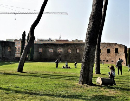 Church of Sant'Agnese fuori le mura, children playing on the grounds of the old cemetery basilica from the IV century