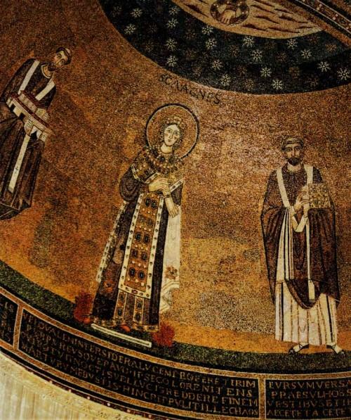 Sant'Agnese fuori le mura, mozaiki z VII w., po prawej papież Grzegorz I, absyda