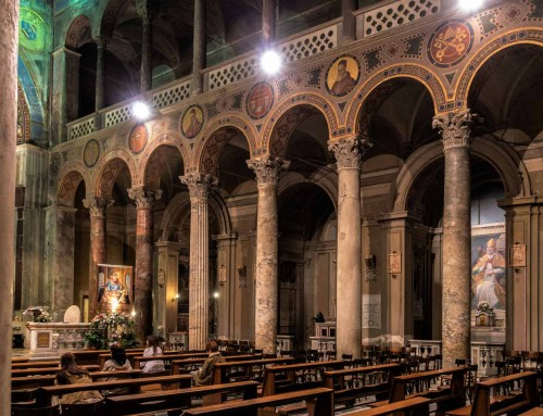 Basilica of Sant'Agnese fuori le mura, nave decorated in part of the architrave by the images of papal benefactors of the church, XIX century