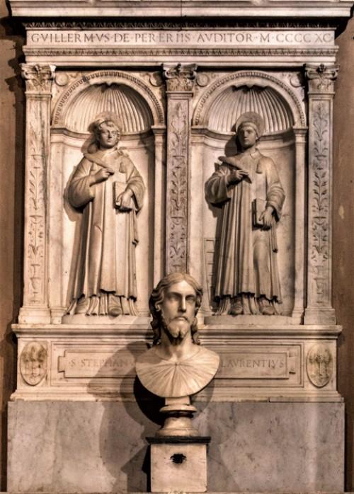 Basilica of Sant'Agnese fuori le mura, altar of SS. Lawrence and Stephen – Andrea Bregno, the Head of Christ – Nicolas Cordier