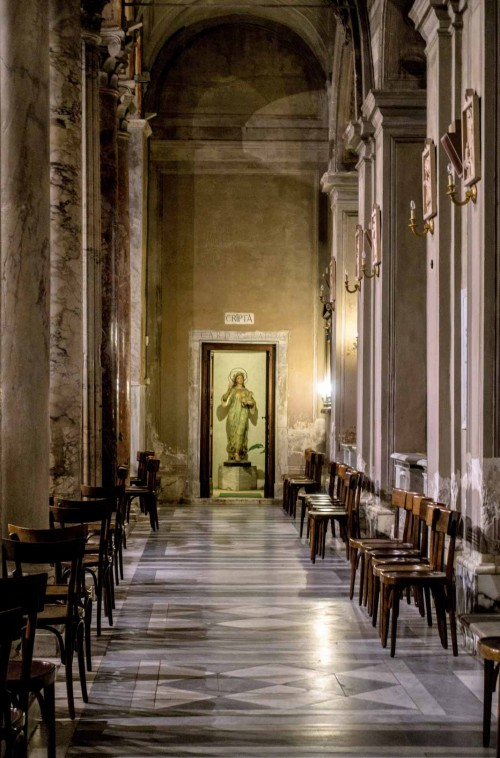 Basilica of Sant'Agnese fuori le mura, right nave with the enterance to the church crypt