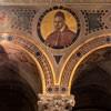Basilica of Sant'Agnese fuori le mura, decorations above the arcades, image of Pope Paul V, XIX century