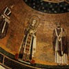 Basilica of Sant'Agnese fuori le mura, mosaics from the VII century, on the right Pope Gregory I, apse