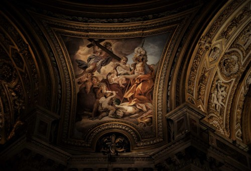 Church of Sant'Agnese in Agone, painting in the pendentives, Courage and Charity, Baciccio