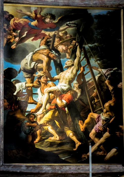 Sant'Andrea delle Fratte, Męczeństwo św. Andrzeja, obraz z absydy kościoła, B. Leonardi