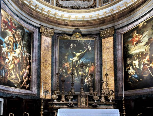 Basilica of Sant'Andrea delle Fratte, view of the apse – paintings of B. Leonardi, L. Baldi and F. Trevisiani – The Martyrdom of St. Andrew