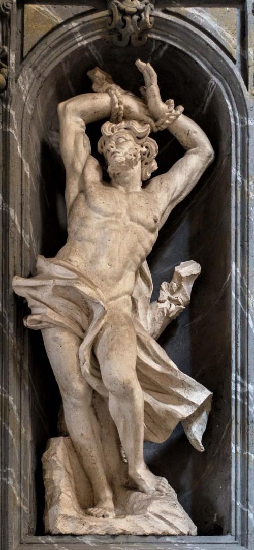Basilica of San Carlo al Corso, statue of St. Sebastian in the church ambulatory, Francesco Cavallini