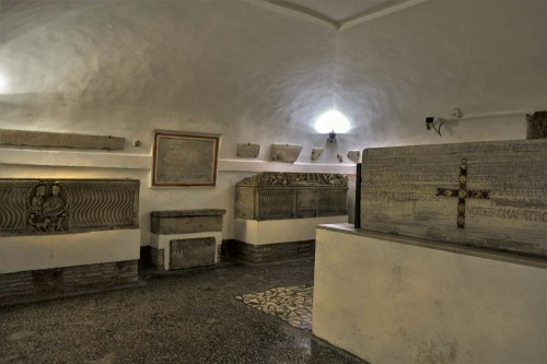 Underground of the Basilica of Santa Cecilia, room with remains of sarcophaguses