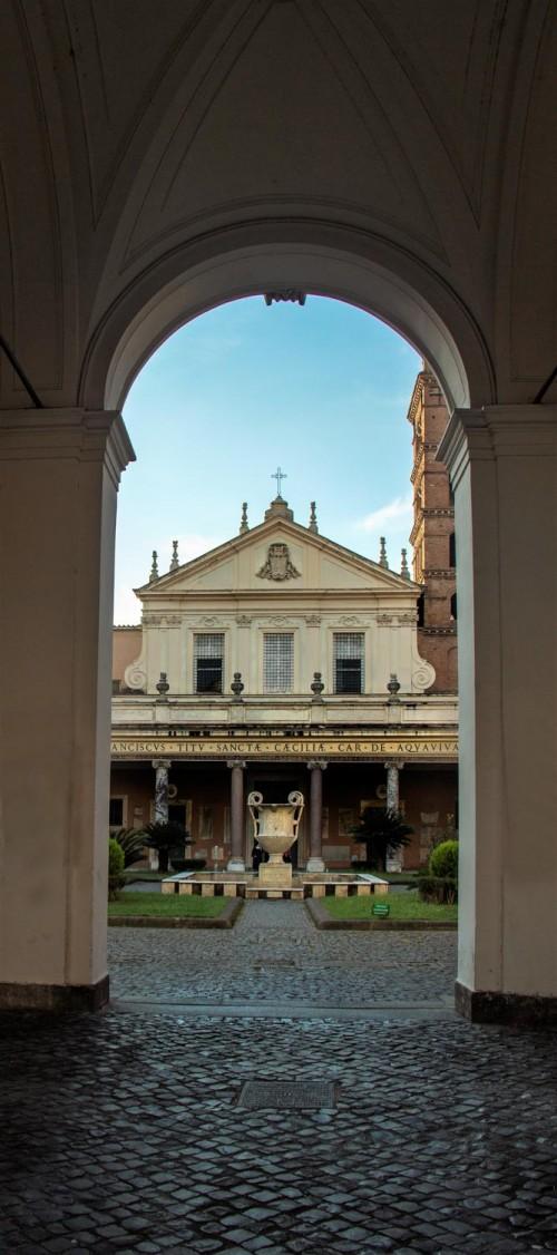 Basilica Santa Cecilia, gate leading to the church atrium