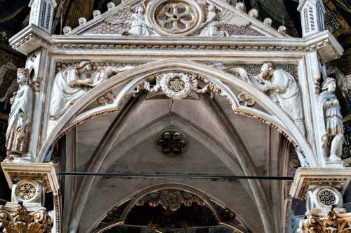 Church of Santa Cecilia, ciborium in the apse, Arnolfo di Cambio, at the base figure of St. Cecilia and Valerian